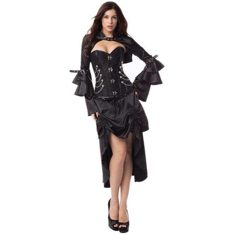 Black Victorian Steampunk Steel Bone Corset Dress With Jacket - Skullflow