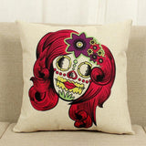 Skull Head Print Cotton Linen Throw Pillow Cover - Skullflow