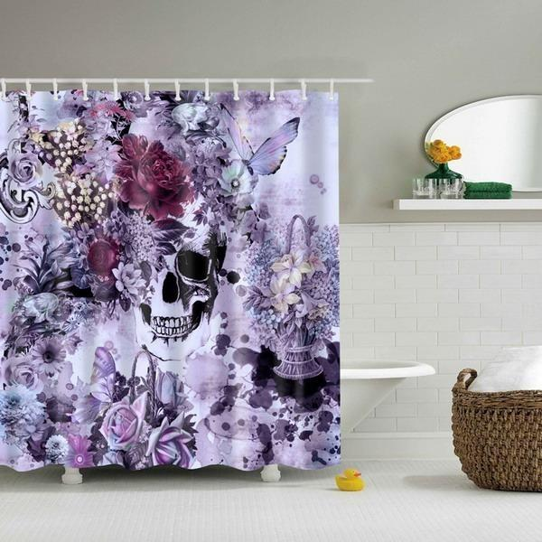 Flower Skull Shower Curtains - Skullflow