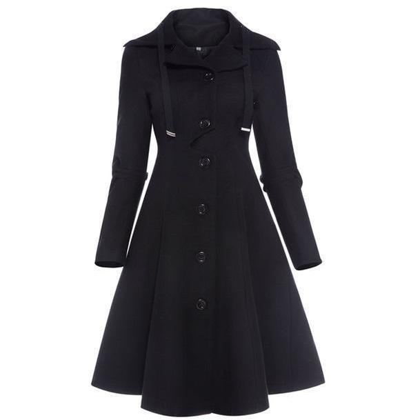 Black Vintage Gothic Button Lace Up Asymmetric Coat - Skullflow