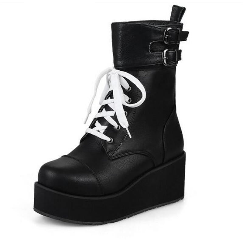 Gothic Lace Up High Heels Wedge Boots - Skullflow
