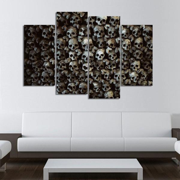 4 Panels Wall of Skull Canvas Painting