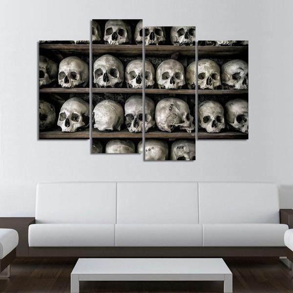 4 Panels Skull Ossuary Canvas Painting