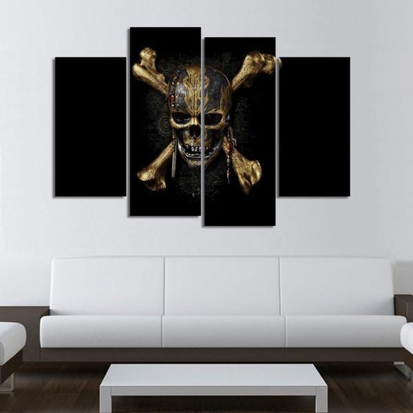4 Panels Skull Crossbones HD Print Canvas Painting
