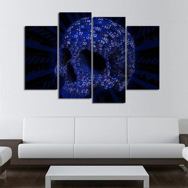 4 Panels Blue Skull HD Print Canvas Painting