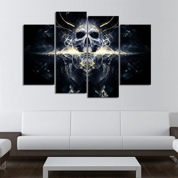 4 Panels Dark Devil King Skull HD Print Canvas Painting