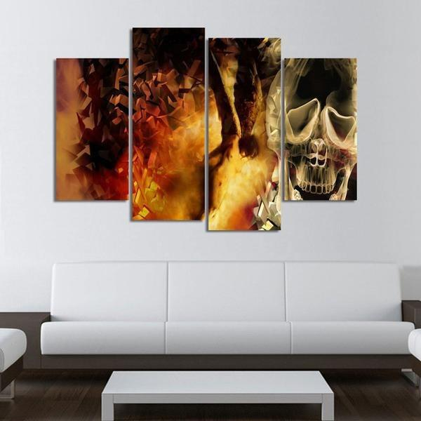 4 Panels Psychedelic Skull HD Print Canvas Paintings