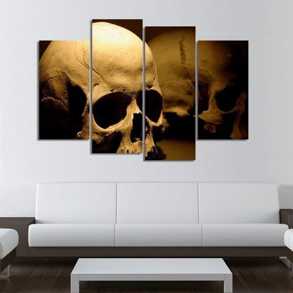 4 Panels Human Skull HD Print Canvas Painting