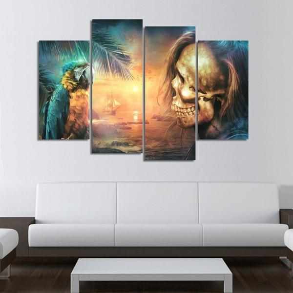 4 Panels Pirate Skull Life HD Print Canvas Paintings