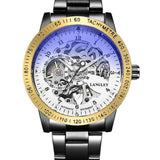 Stainless Steel Skeleton Steampunk Mechanical Watch - Skullflow