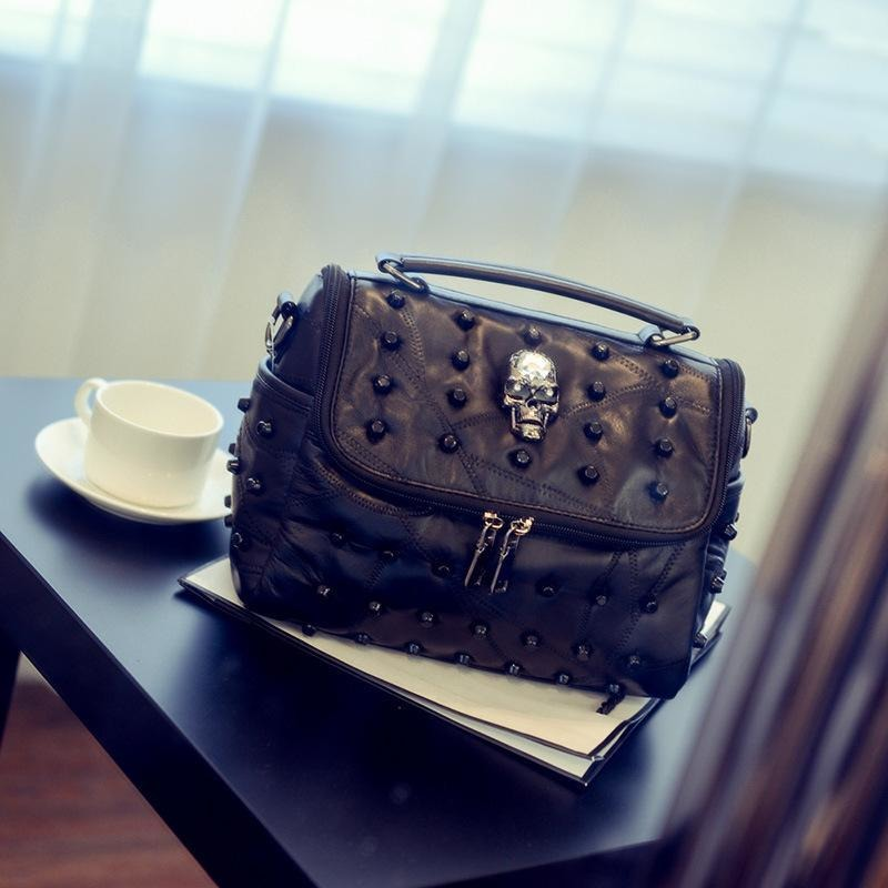 Punk Skull Rivet Leather Handbags - Skullflow