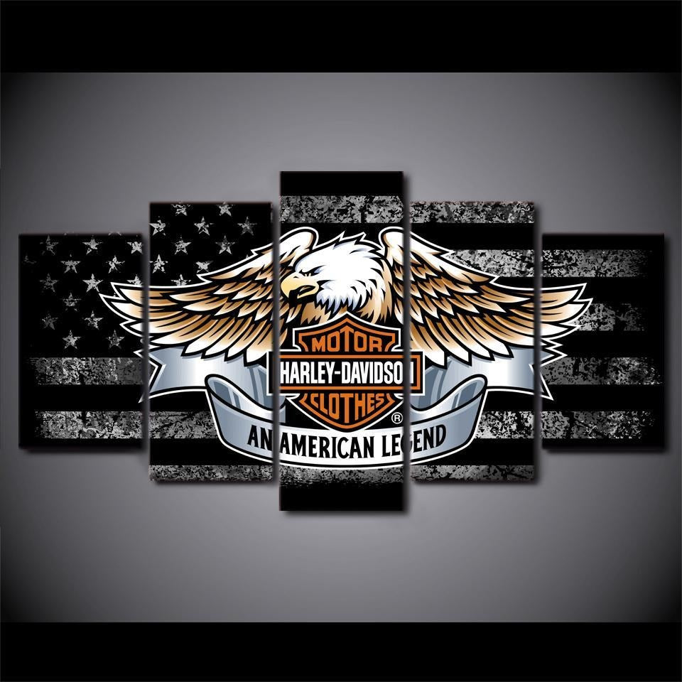 American Motorcycle Eagle Wings Wall Art HD 5 Pcs Panel - Skullflow