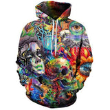 Skull Colored Painted 3D Hoodie - Skullflow