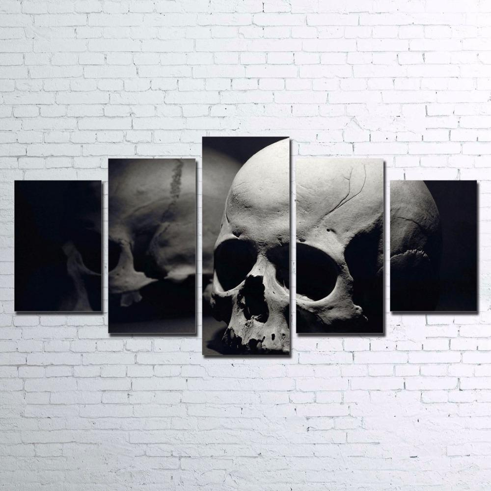 HD Printed 5 Pieces Skull Pictures Wall Art - Skullflow