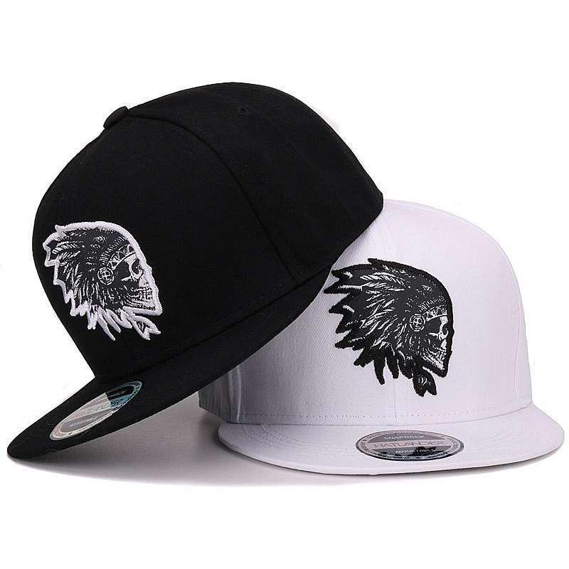 Skull Embroidery Snap Back Baseball Cap - Skullflow