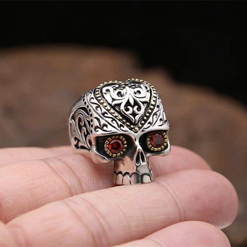 Sugar Skull Rings with Red Stone - Skullflow