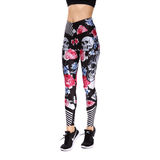 Stripe Rose Skull Leggings