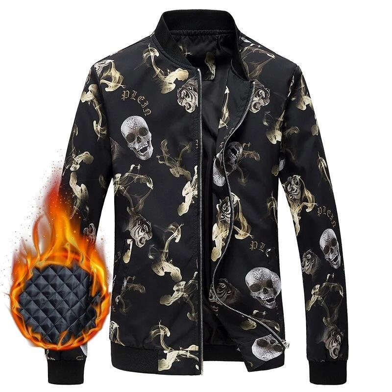 Gothic Skulls 3D Stand Collar Winter Jacket