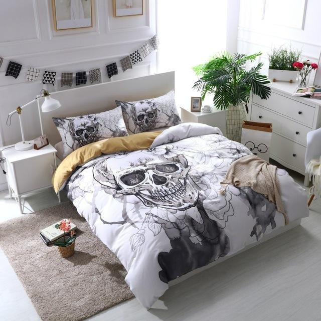 3D Flower Sugar Skull White Bedding Set - Skullflow