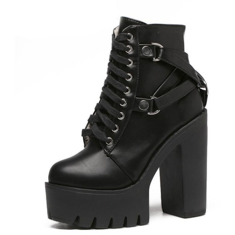Gothic Cross Strap Ankle High Heel Boots - Skullflow