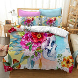 Flower Skull Bedding Set - Skullflow