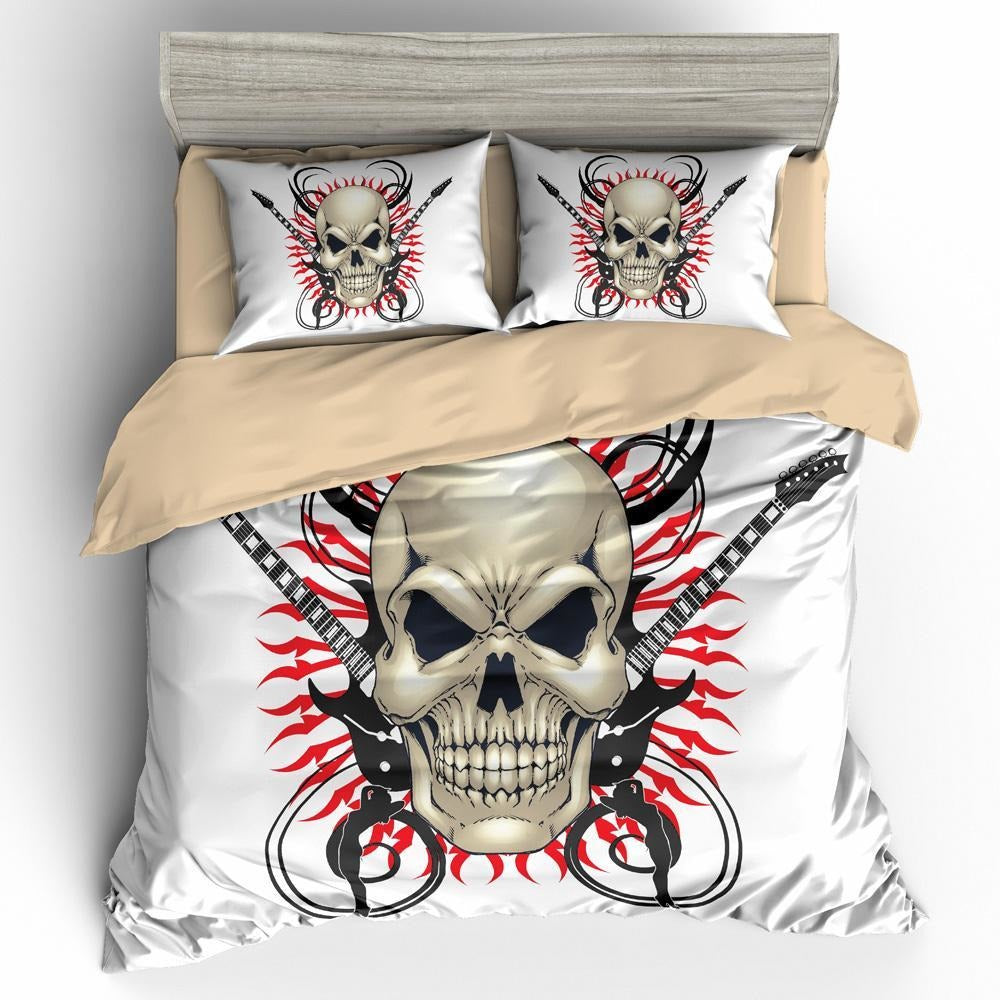 Crossed Guitars 3D Skull Bedding Set - Skullflow