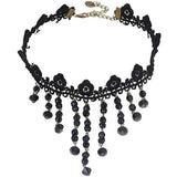 Gothic Victorian Black Crystal Lace Choker - Skullflow