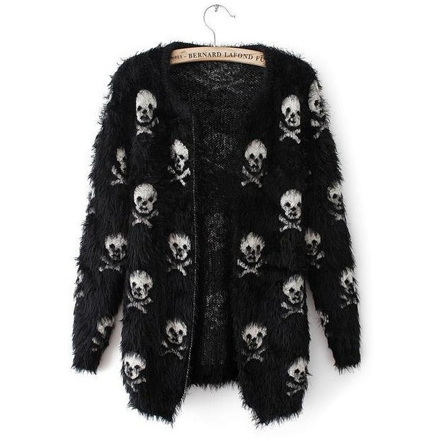 Skull Head Loose Knit Cardigan Sweater - Skullflow