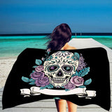 Sugar Skull Print Bath Beach Towel - Skullflow