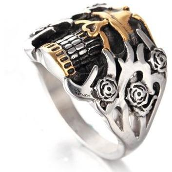 Skull Rose Stainless Steel Biker Ring - Skullflow