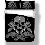 Black Skeleton Death's-Head & Pistol Bedding Set - Skullflow