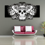 HD Skull Print 5 Panel Canvas Painting - Skullflow