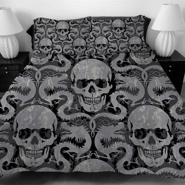 3D Sugar Dragon Skull Bedding Set - Skullflow
