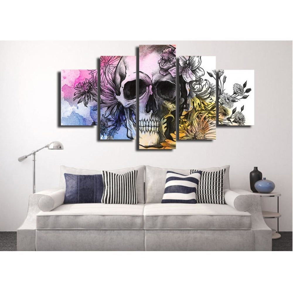 HD 5 Pcs Skull and Flowers Wall Art Canvas - Skullflow
