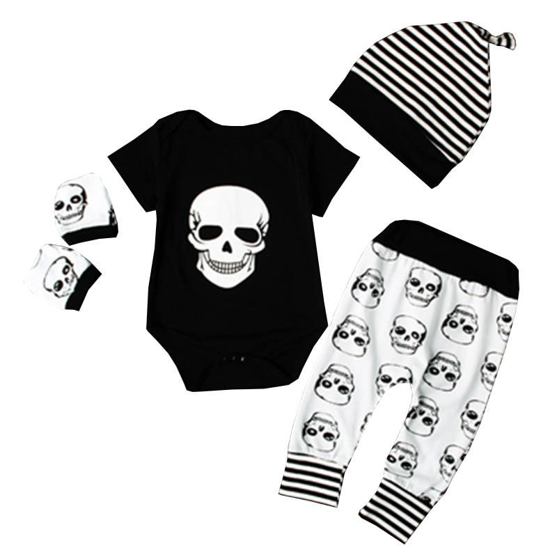 Skull Head Black Baby Romper Set