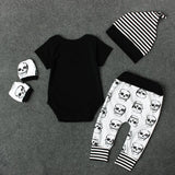 Skull Head Black Baby Romper Set - Skullflow