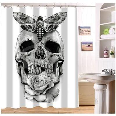 Butterfly Floral Skull Shower Curtain - Skullflow