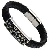Stainless Steel Skull Skeleton Charm Leather Bracelet - Skullflow