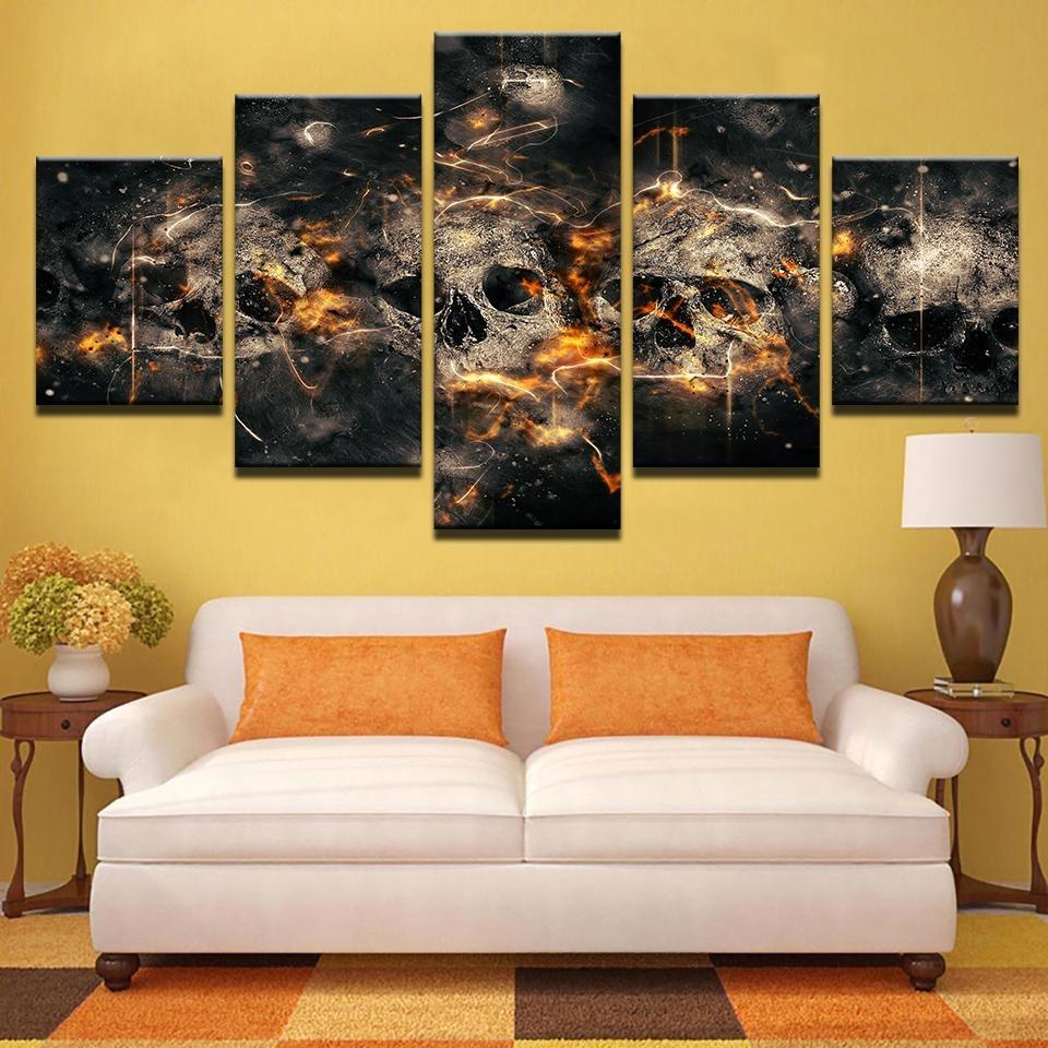 5 Pieces Abstract Horror Skull Canvas Wall Art - Skullflow