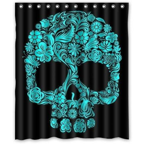 Black Sugar Skull Polyester Shower Curtain - Skullflow