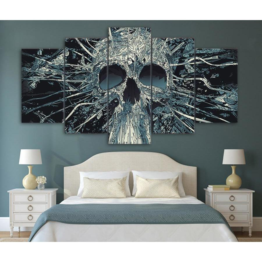 5 Pieces Home Decor Canvas Print Painting Wall Art Abstract Skull Rose Poster