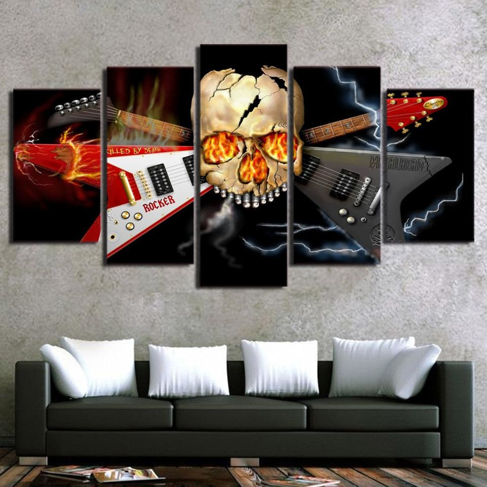 5 Panel Heavy Metal Band Skull Guitar Canvas Printed - Skullflow