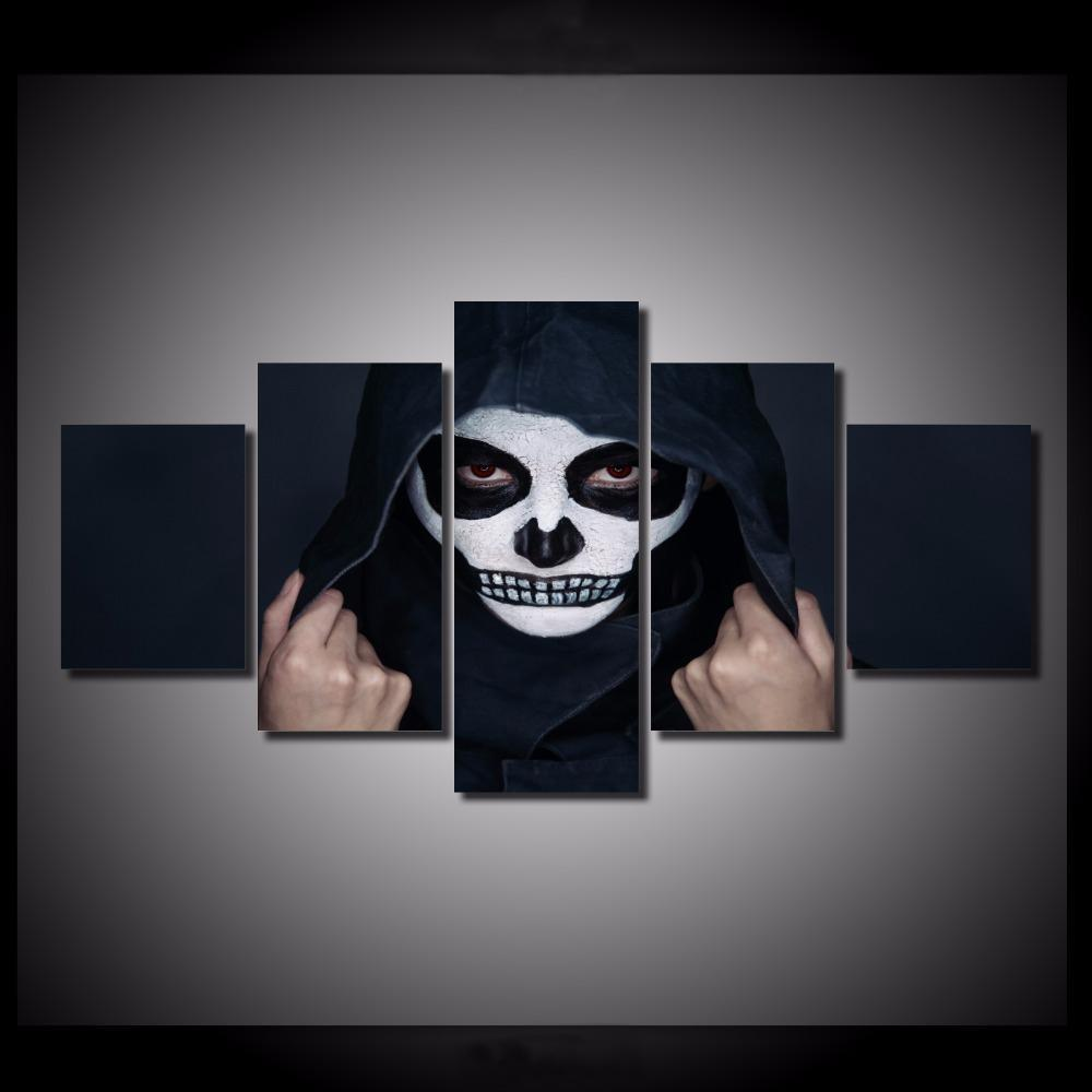 5 Pieces Hooded Skull Wall Art Canvas Painting - Skullflow