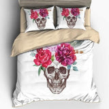 3D Flowers Skull Bedding Set - Skullflow