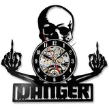Skull Danger Record Vinyl Wall Art Clock - Skullflow