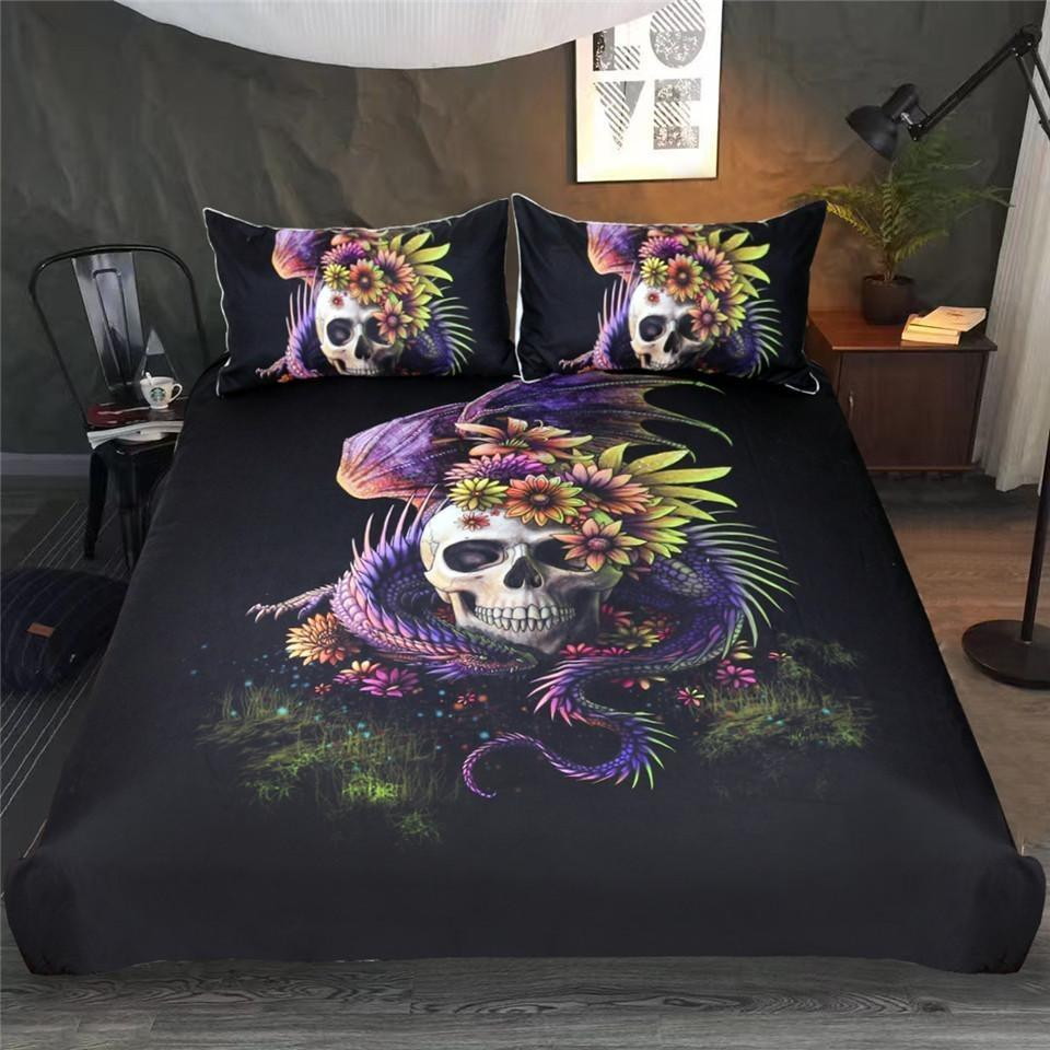Dangerous Monster Purple Floral Skull Bedding Set - Skullflow