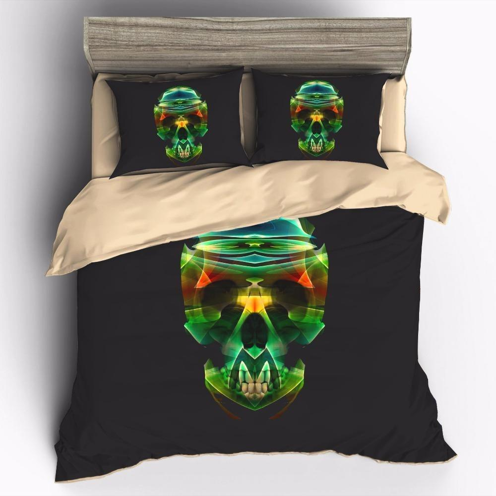 3D Colorful Abstract Skull Bedding Set - Skullflow