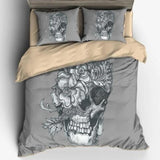 Flower Cranium Skull Bedding Set - Skullflow