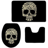 Black Skull Head Print Toilet Seat Cover and Bathroom Rug Set - Skullflow