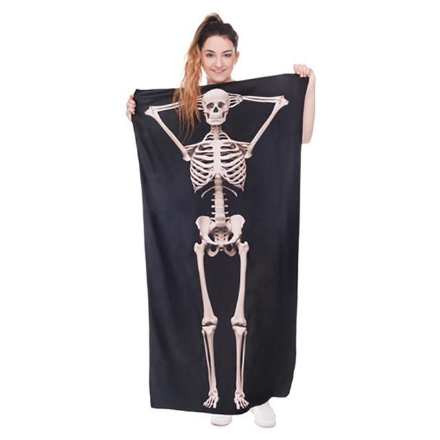 Skull Skeleton 3D Printing Black Bath Towel - Skullflow